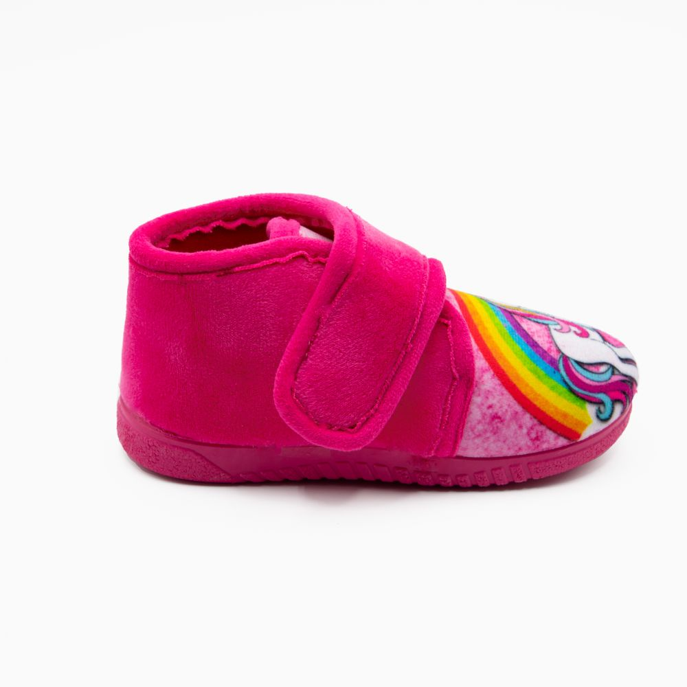 Zapatilla de niño unicornio arcoiris